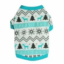 Осенне-зимняя одежда для собак, Рождественская Одежда для животных с принтом снежного оленя, Красная рождественская елка, теплая синяя рубашка для маленьких собак XS, s, m, l
