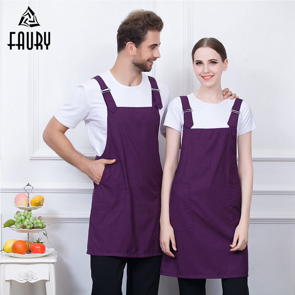 6 Color Wholesale Strap Adjustable Buttons Food Service Restaurant Chef Kitchen Cook BBQ Apron Cafe Bakery Waiter Work Uniform