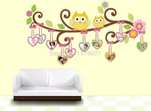 Free Shipping cute owl picture photo frame Wall Sticker Home Decor Removable art Decals Kids Room decoration