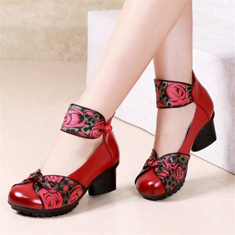 2019 Spring fashion retro Genuine Leather shoes soft soles thick heel single shoes soft soles handmade Women shoes dancing shoes2019 Spring fashion retro Genuine Leather shoes soft soles thick heel single shoes soft soles handmade Women shoes dancing shoes