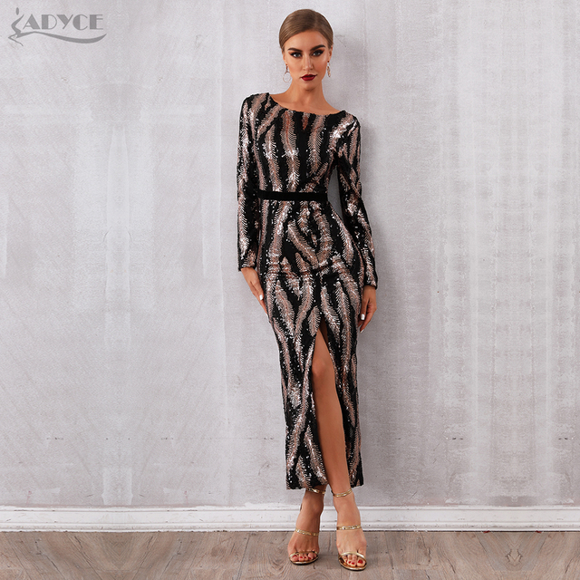 Adyce 2019 New Winter Sequin Celebrity Evening Runway Party Dress Women Vestidos Sexy Backless Maxi Long Sleeve Night Club Dress 3