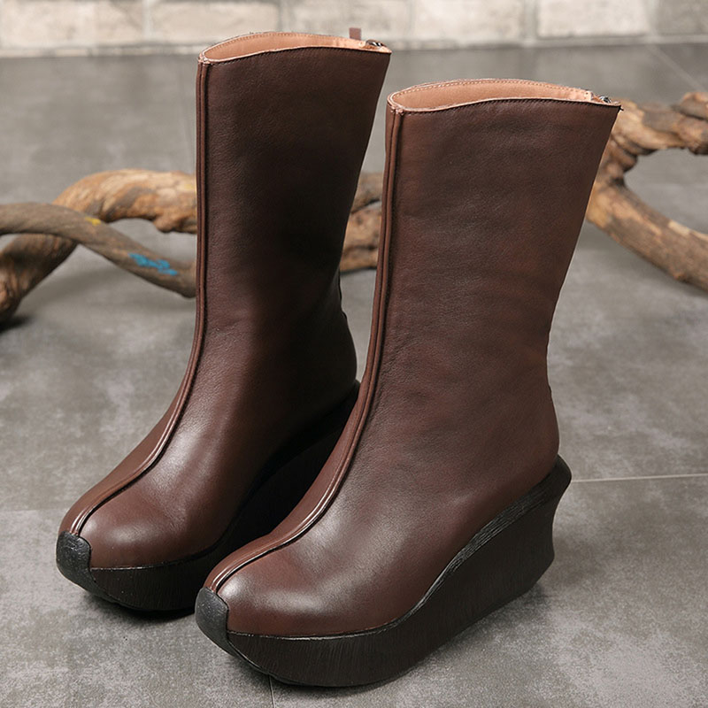 Autumn and winter new women's boots round head thick bottom leather tube simple female wedge with back zipper leather Martin цена 2017