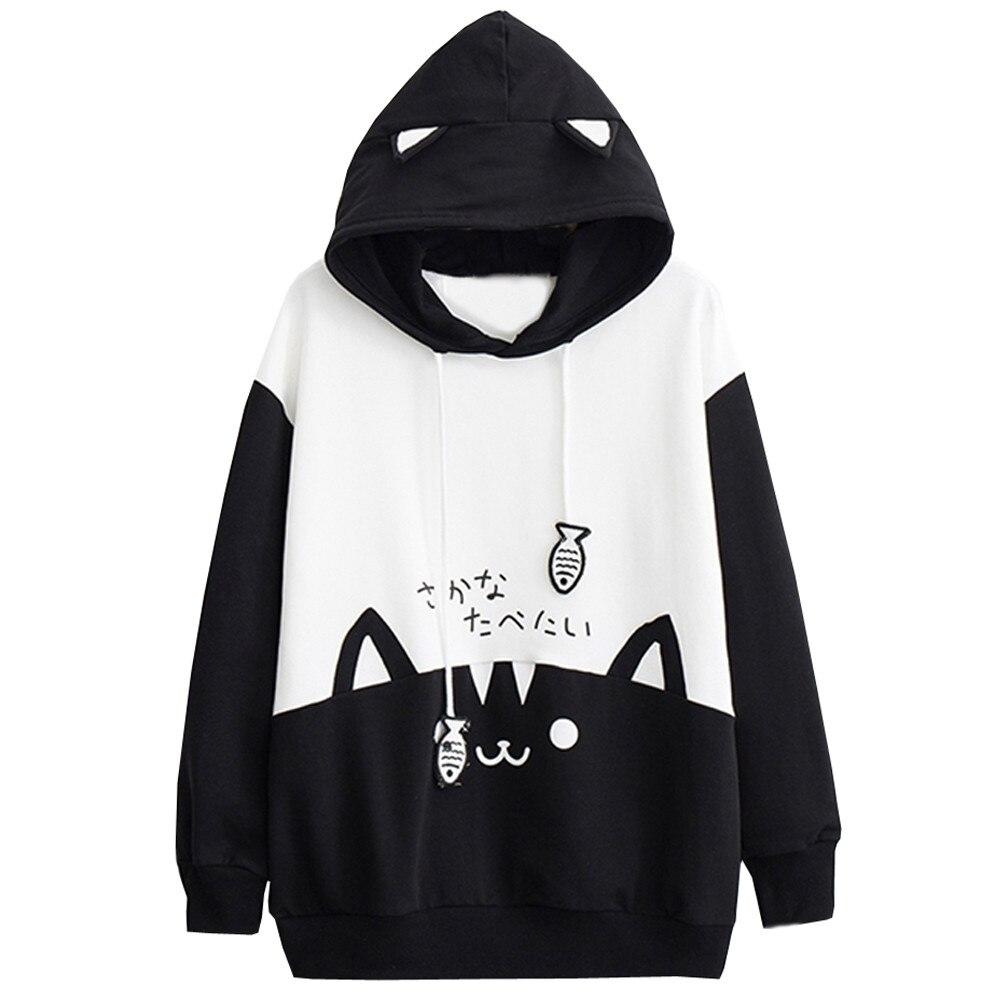 Женская толстовка с капюшоном moletom, осенне зимняя уличная одежда с карманом и принтом кошки, Свободный пуловер с капюшоном Толстовки и свитшоты      АлиЭкспресс