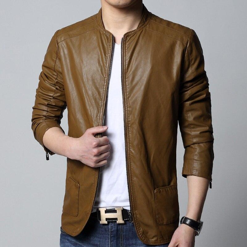 New 2015 High Quality Leather Jacket Men Solid Color Crewneck Mens ...