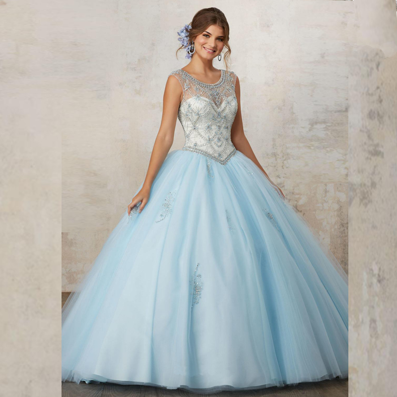 2017 Baby Blue Coral Quinceanera Dress 2017 Ball Gown ...