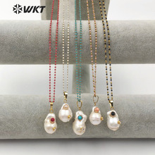 WT JN091 Natural Baroque Pearl Rhinestone Pave Pendent With Colorful Gem stone Bead Chain Necklace Woman Fashion Jewelry
