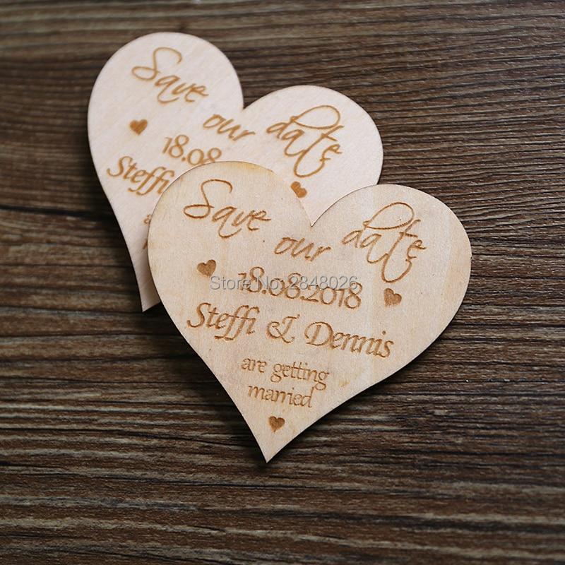Herz form sparen die datum magnet, Hochzeit gunsten, Holz sparen die ...