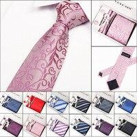 Conjuntos NEWNecktie Novo Homem Clássico da Moda Dots Plaid Tie Cuff Link prendedor de gravata Hanky Para Festa Formal Padrão Listrado Ties Gift box