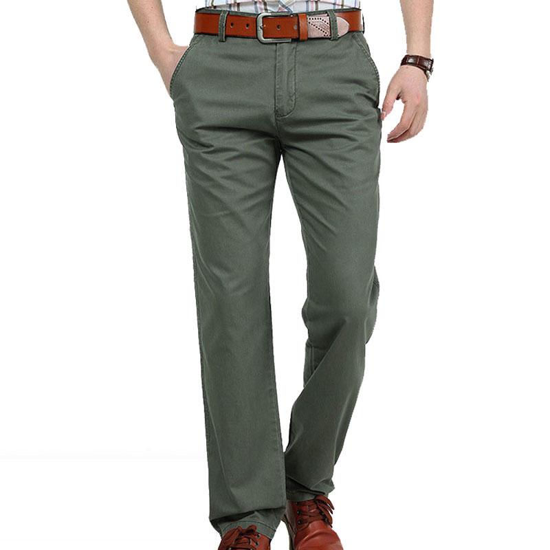 2017 новый случайный человек брюки плюс размер брюки army green мужская свободные 100% хлопок прямо длинные брюки брюки бренд одежды 30 ~ 42