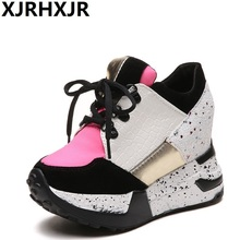 XJRHXJR Woman Shoes 10cm High Heels Platform Casual Free Shipping of Wedge Casual Sneaker Shoes Fashion Casual Women Shoes