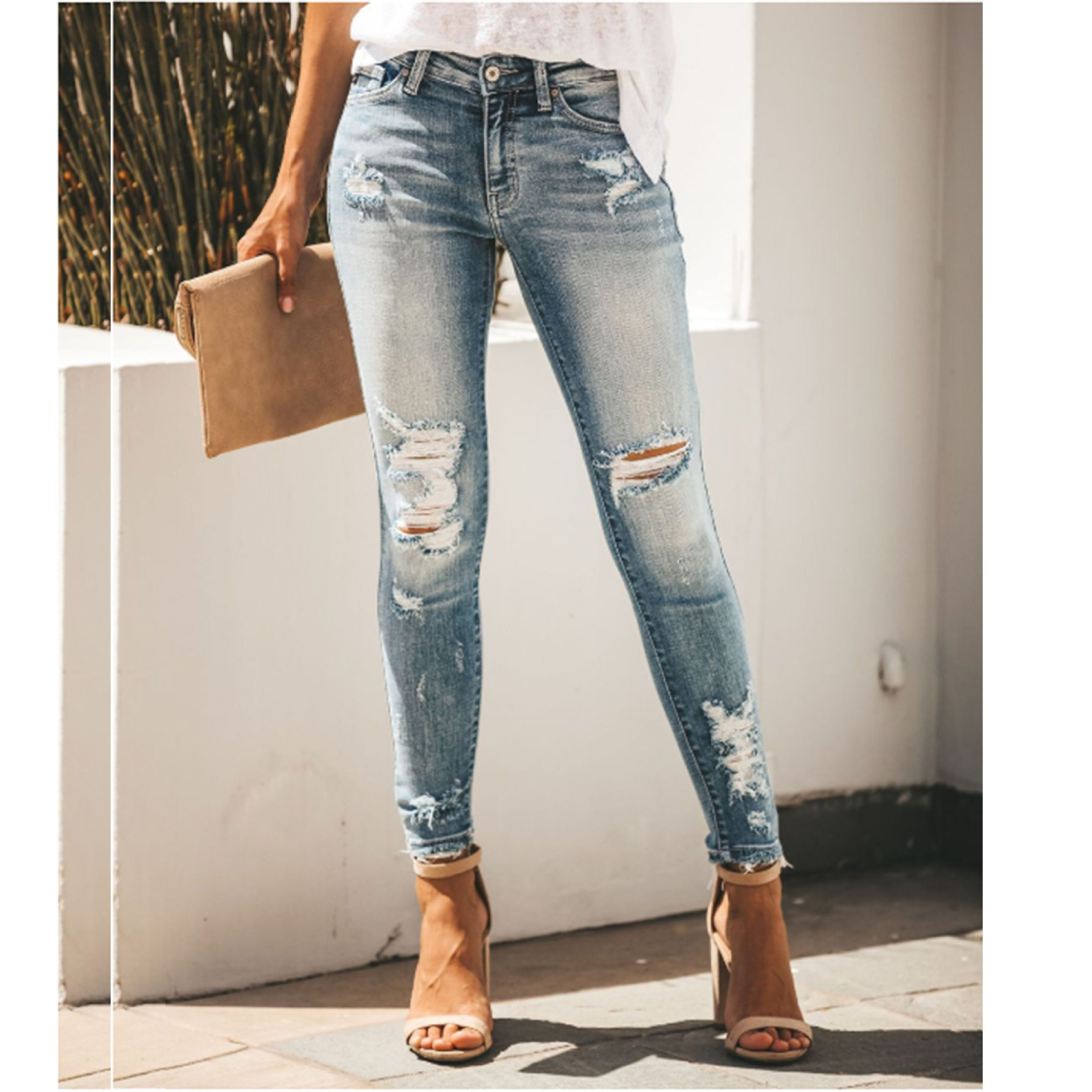 Summer Button Stretch Mid-Waist Ladies Jeans Hole Ladies Jeans Casual Female Pencil Pants Straight Slim Ladies Feet Jeans