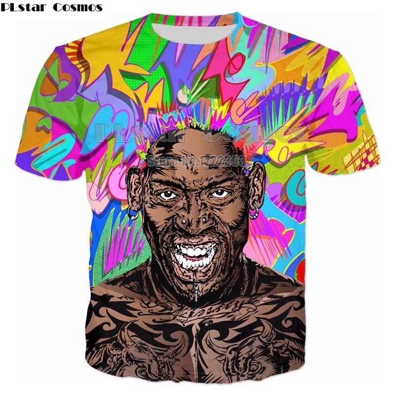PLstar Cosmos 2018 Summer Mens Short Sleeve Tees Mens 3d T shirt Dennis Rodman T-Shirt Character Fashion T-Shirts Tees Unisex