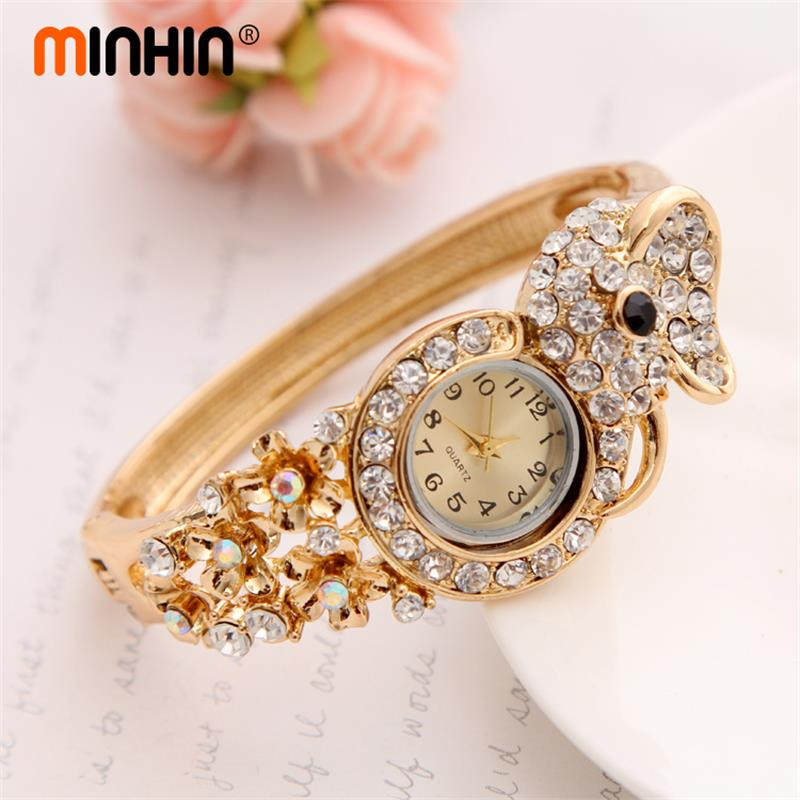 MINHIN Luxury Women Gold Plated Watch Wristwatch Bangle Watch Hot Sale Quartz Watch Valentine's Day Gift Ladies Watch