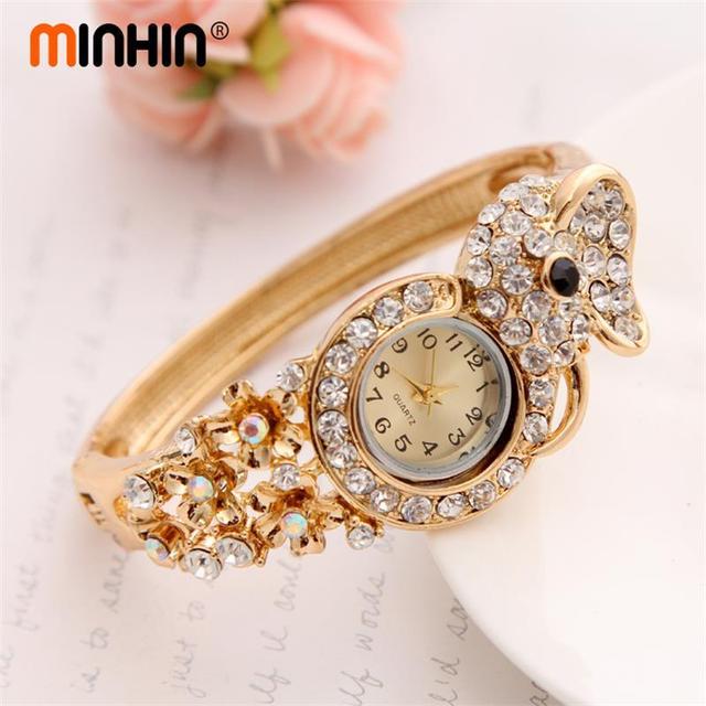 MINHIN Luxury Women Gold Plated Watch Wristwatch Bangle Watch Hot Sale  Quartz Watch Valentineu0027s Day Gift