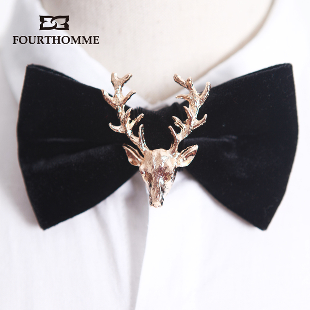 Landscaping Ties Red Deer : Mens high end luxury velvet glam metal christmas deer bow tie wedding neck ties red bowtie