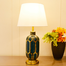 Glazed Ceramic Table Lamps For Bedroom Living Room Golden and Blue Ceramics Vase Shape Bedside High Grade