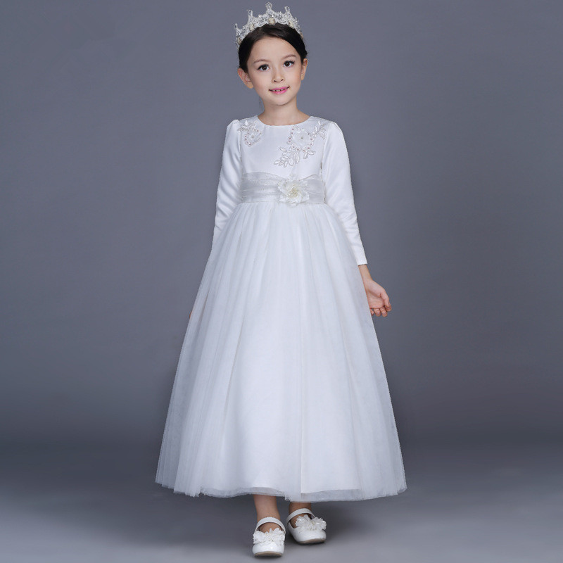 High Quality Flower Girl Dress White Simple Long Vestido Girls Of 2 3 4 6 8 10 12 14 Years Old Formal Child Clothes RKF185002 beading bling white girls dress party wear flower girl vestido for wedding 2018 girls clothes 3 4 6 8 10 12 years rkf184012