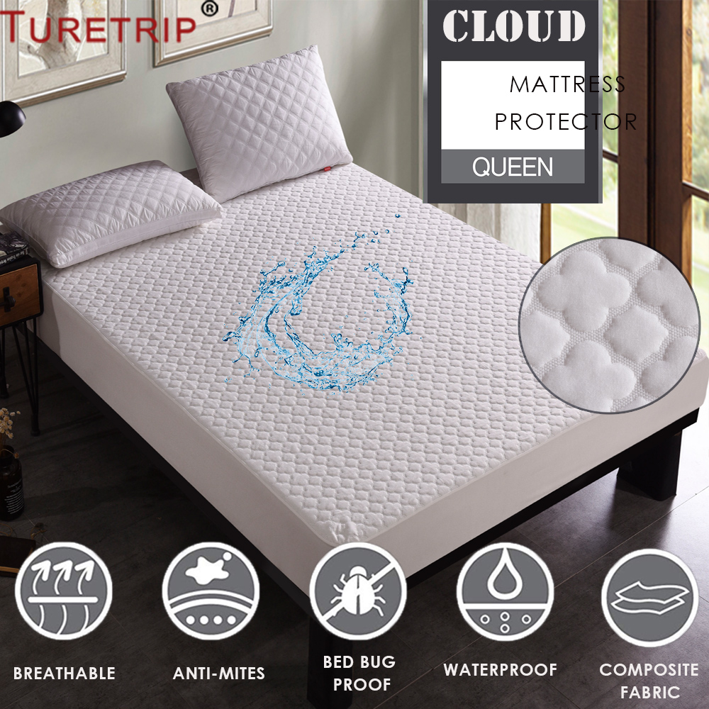 Turetrip Jacquard Cloud Waterproof Mattress Protector Deep Pocket Matress Cover Machine Washable Mattress Pad Folding Mattress