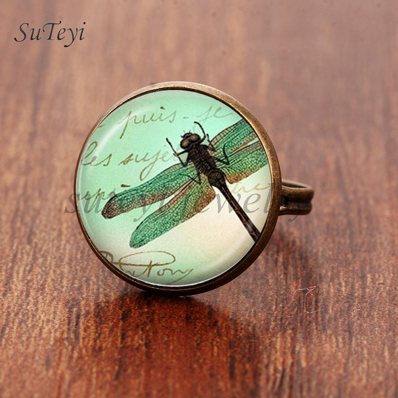 SUTEYI Vintage Dragonfly Print Pattern Glass Ring 18mm Glass Dome Antique Bronze Copper Rings Christmas Gift Jewellery