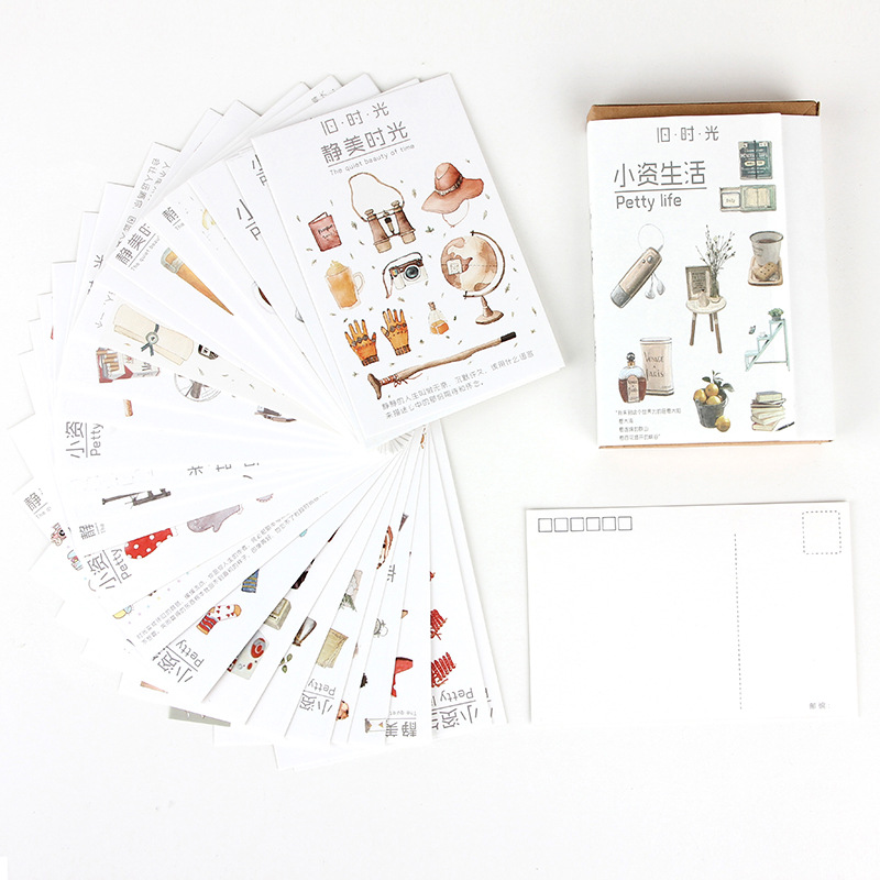 30 Pcs/Set Creative Petty Life Series Postcard/Greeting Card/Message Card/Birthday Letter Envelope Gift Card Two Sizes