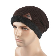 Winter Men Skullies Hat Bonnet Beanie Knitted Wool Hat Plus Velvet Cap Thicker Mask Fringe Ski Beanies Hats