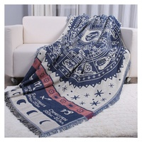 DREAMSOULE Cotton Three Layers Two Sided Sofa Cover Throw Blanket With Tassels Size 180 X 230cm