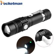 Pocketman Ultra Bright XM-L T6 USB LED Flashlight 3 Modes 3800 Lumens Zoomable LED Torch 18650 Battery + Charger + USB 2300lm searchlight 3 modes handheld xm l t6 zoomable rechargeable led portable spotlight 18650 flashlight torch lamp