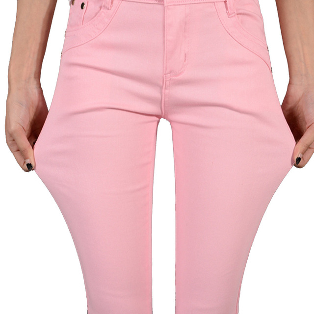 Jeans Women Fashion Autumn Tight Casual Candy Color Pencil Legging Thin Soft Waist Skinny Pants Elastic Trousers jeans for Women