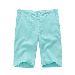 جديد وصول 100% الكتان مجلس السراويل الرجال الصيف الكتان الأزياء الرجال شاطئ السراويل الصلبة ماركة الرجال قصيرة S-XXL 7 ألوان برمودا