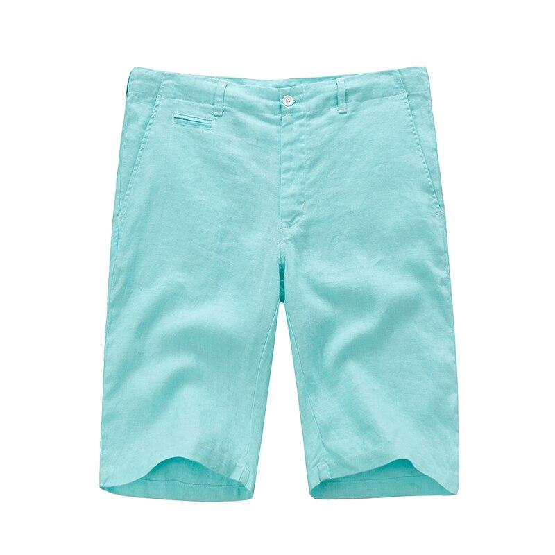 Nueva llegada 100% pantalones cortos de lino hombres de verano de - Ropa de hombre