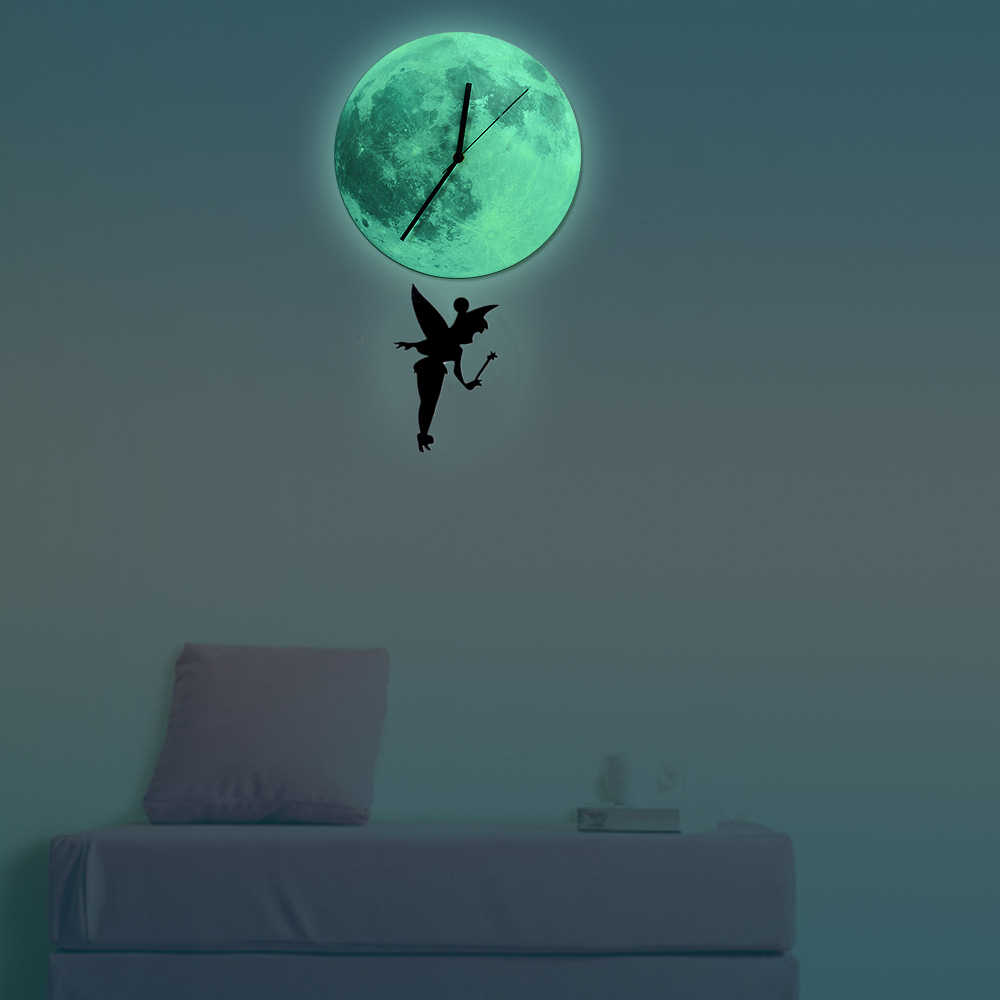 Aliexpress Com Buy Funlife Tinkerbell Glowing Moon Pendulum Clock Glow In The Dark Moon Wall Clock Home Decor Quartz Silence For Bedroom 30cm12 From
