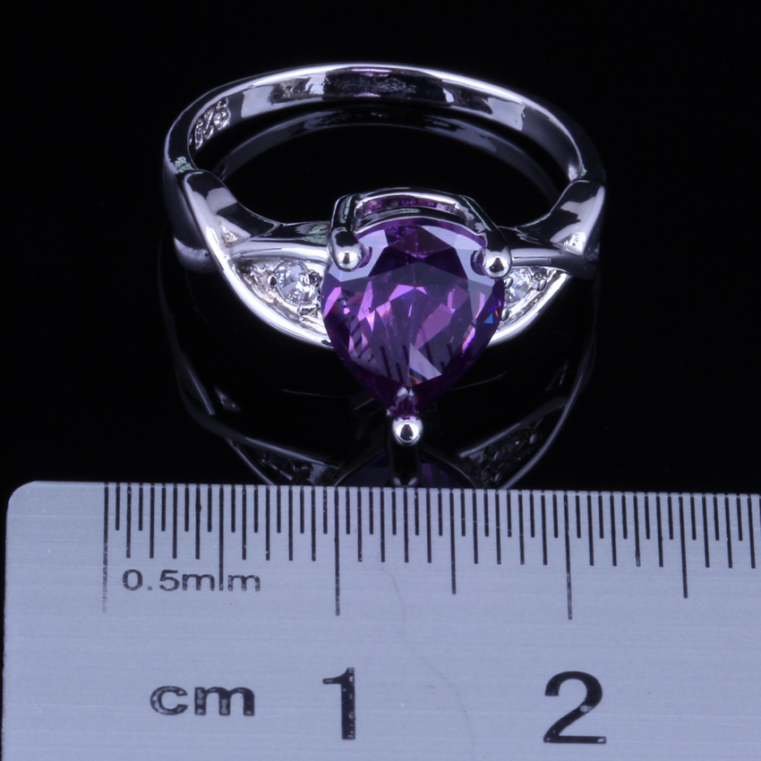 Cute Pear Purple Cubic Zirconia White CZ 925 Sterling Silver Ring For Women V0107 in Rings from Jewelry Accessories