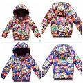 2015 crianças novas de inverno para baixo jaqueta de Banda Desenhada para baixo casaco para a menina meninos para baixo crianças jaqueta casaco outerwear do inverno da menina bebê