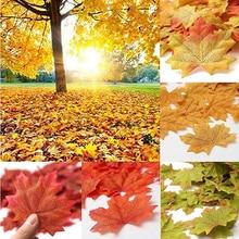 100 шт Искусственный Кленовый лист имитация декоративный кленовый лист поддельные осенние листья семья свадьба Вечеринка фото украшения