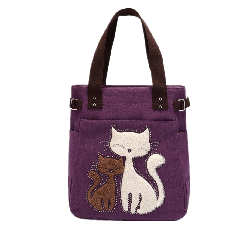 2017 Women's handbag canvas bag with cute cat Appliques portable fashion ladies small bags