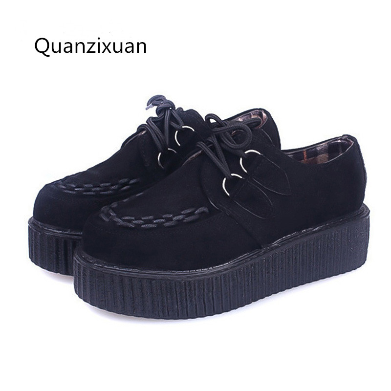 Women Creepers Shoes Lace-up Creepers Platform Shoes Suede Flats Women Shoes Black White women creepers shoes 2015 summer breathable white gauze hollow platform shoes women fashion sandals x525 50