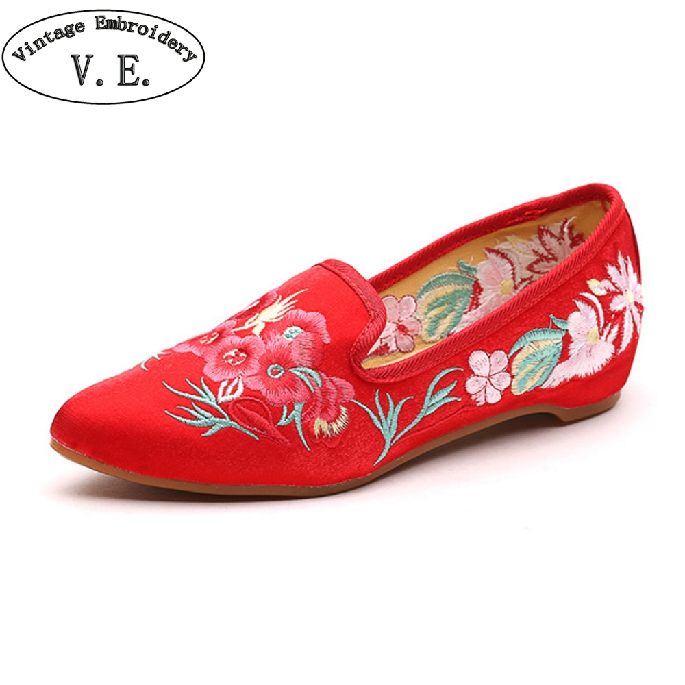 Women Shoes Flats Vintage Flower Embroidery Pointed Toe Comfort Slip-on Summer Ballet Shoes Woman Zapatos De Mujer vintage women flats old beijing mary jane casual flower embroidered cloth soft canvas dance ballet shoes woman zapatos de mujer