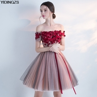 YIDINGZS Short Prom Dress Boat Neck Flowers Beaded Formal Dress Women Occasion Party Dresses