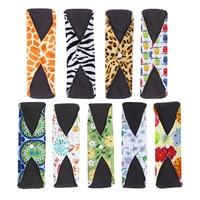 9pcs Sanitary Pads Absorbent Washable Charcoal Bamboo Fiber Towel Pad For Women Random Color
