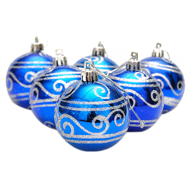 6 Pcs Arbre De Noel Boules Diametre 6 Cm Or Estampage Couleur Dessin