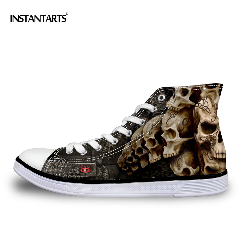 INSTANTARTS Cool Punk Skull Printed Men's High top Canvas Shoes Breathable Casual Lace up Vulcanized Shoes Men High Top Sneakers