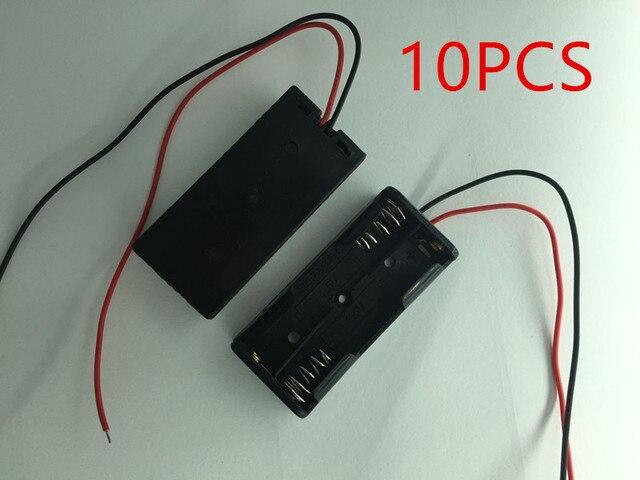 Teyeleec 10 ชิ้น/ล็อตแบตเตอรี่ใหม่กล่อง AAA สีดำชาร์จสำหรับ 2 x AAA แบตเตอรี่ลวด /สาย Dropship