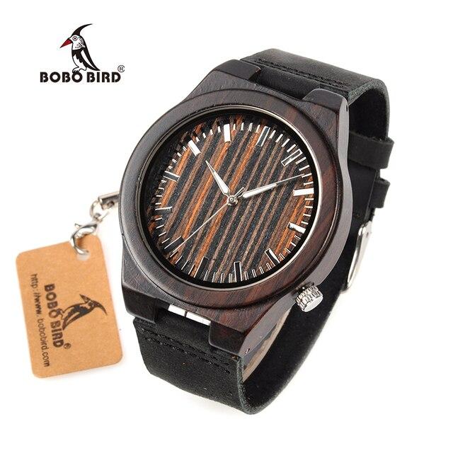 בובו ציפור WB13 אבוני עץ שעון מגניב לסחוב על 4 שעה עץ פנים חיוג רצועת עור שעונים לגברים