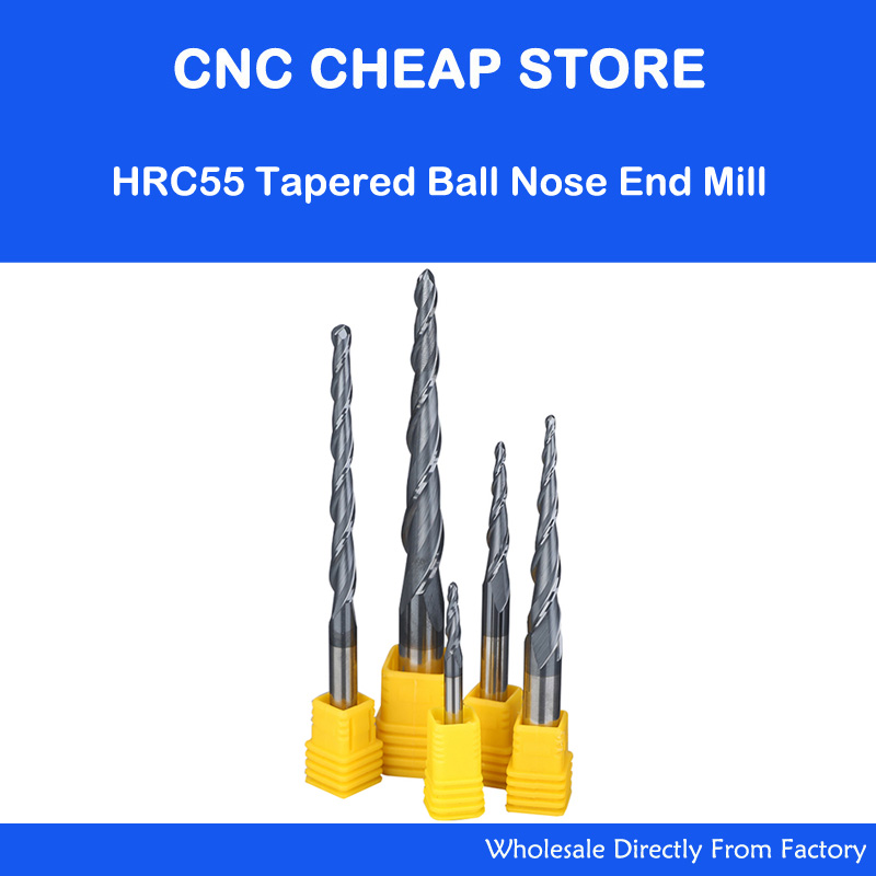 HRC55 Tungsten solid carbide D4-12mm NANO Coated Taper Ball Nose End Mill Tapered cone milling cutter CNC woodworking router bit