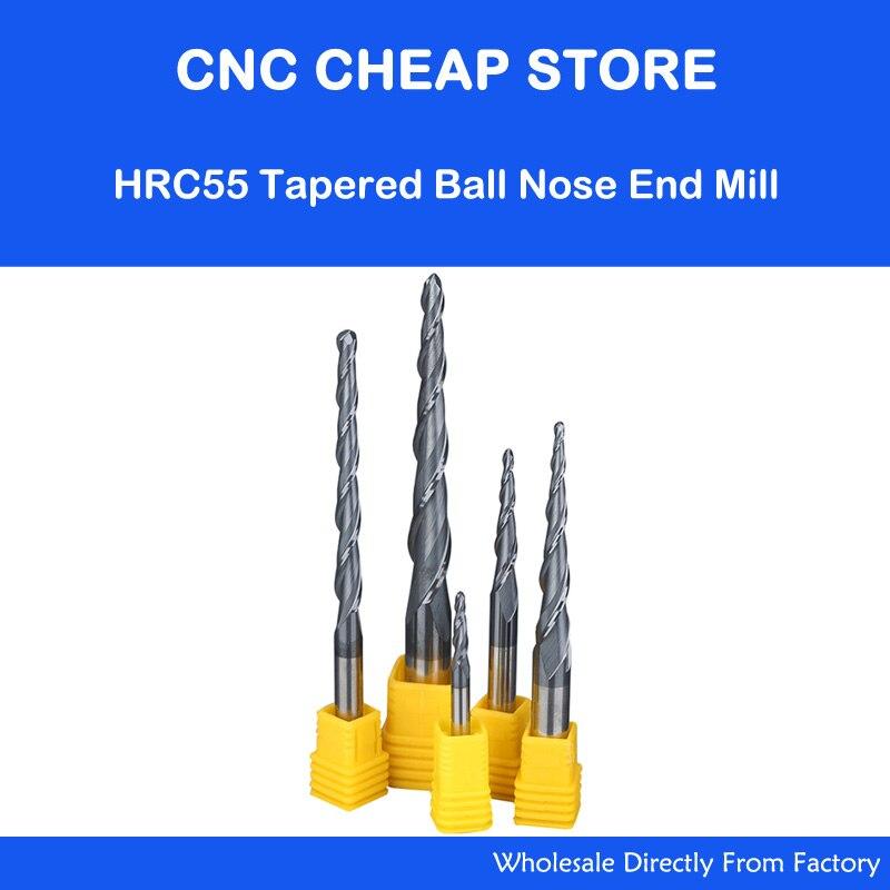 HRC55 tungsteno carburo sólido D4-12mm NANO nariz de la bola Molino de extremo cónico cono fresa fresadora CNC carpintería router bit