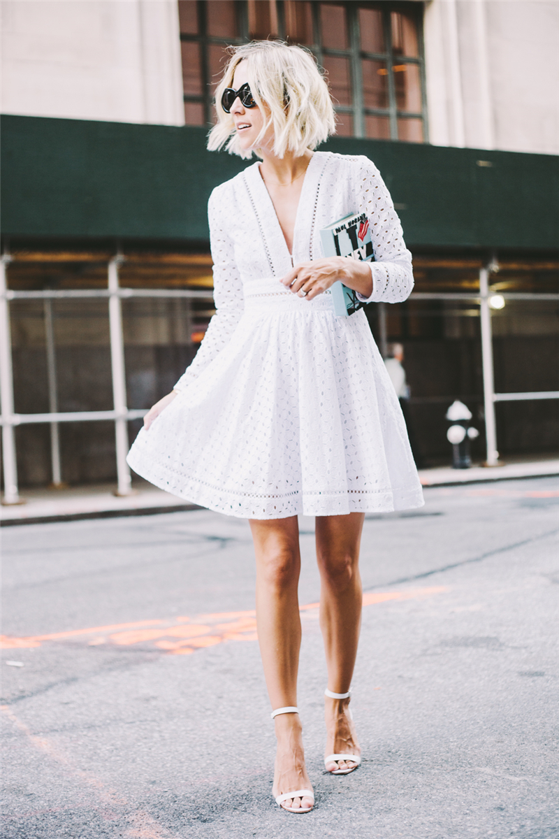 Summer High Quality Women Clothes 2017 Hollow Out Sexy Fashion Casual Deep V White Embroidery Dress