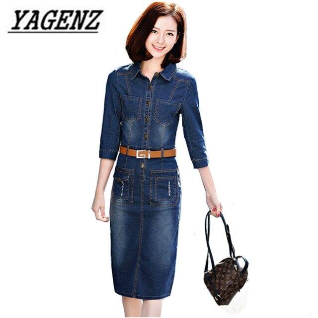 5f346badde9455 Women's Jeans Dress 2018 Fashion New Slim Vintage 3/4 sleeve Ladies Denim  dress Casual Spring Denim Long Dress Women's clothing