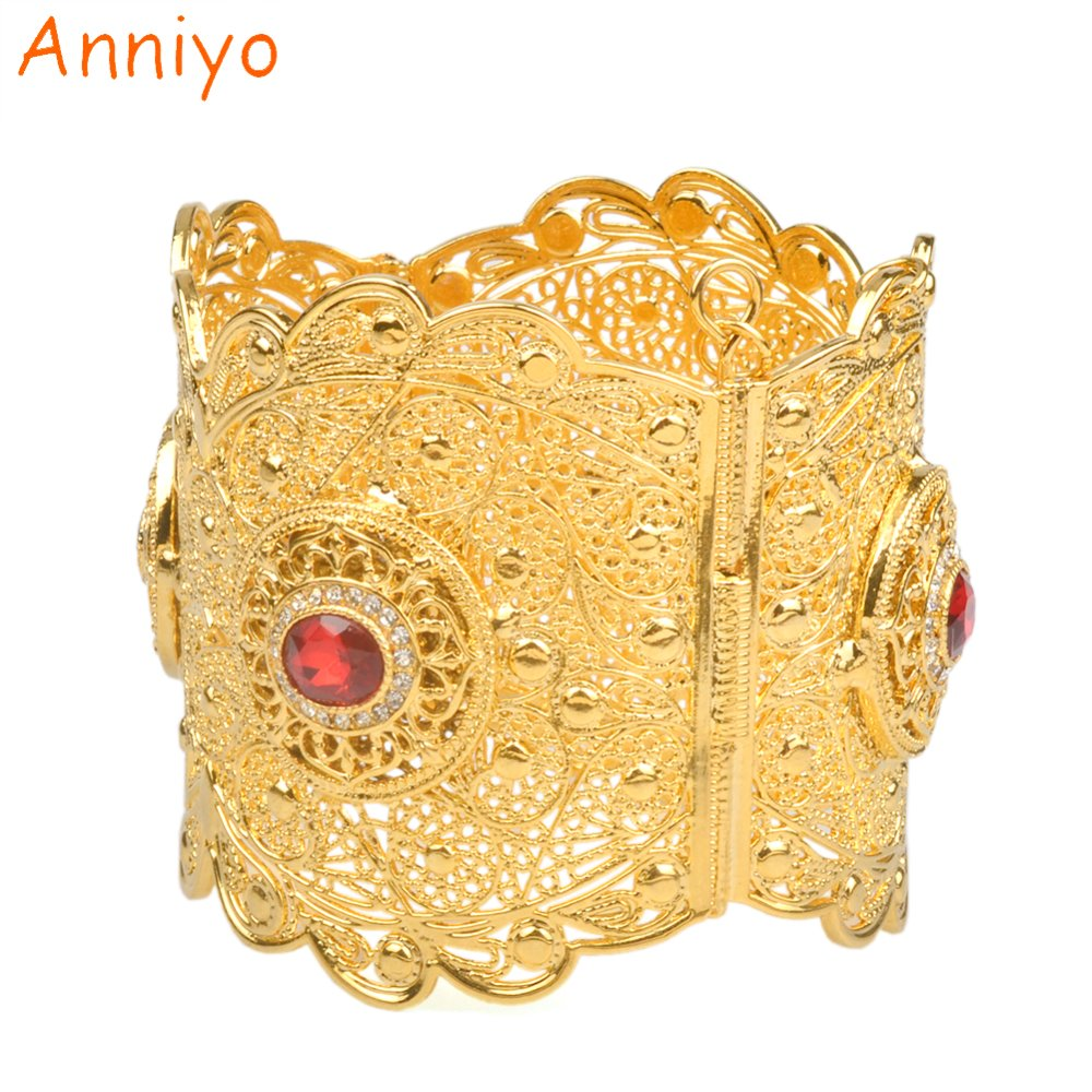 Anniyo 68-70MM Luxury Big Bangle Women Gold Color Dubai Style Jewelry African Wedding Bracelets W/Stone Arab Middle East #060602