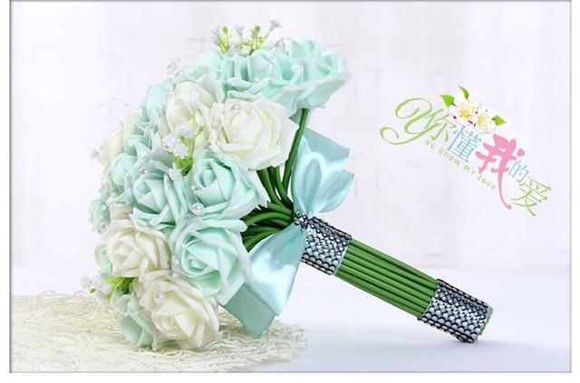 2017 Barato luz Verde Colorido Flor Color de Rosa Artificial Ramo de La Boda de dama de Honor Nupcial Novia Ramos buque de noiva