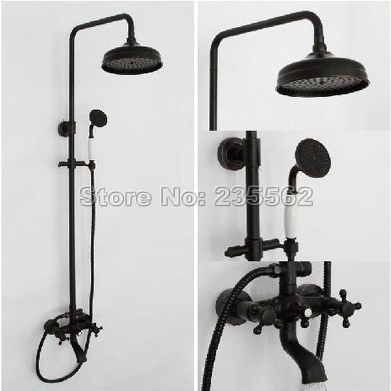 Black Oil Rubbed Bronze Retro Bathroom Bathtub Wall Mount Rain Shower Faucet  Set Mixer Tap Taps